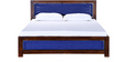 Coram Queen Bed with Handwoven Headboard in Provincial Teak Finish by Woodsworth