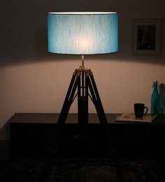 Cocovey Blue Cotton Floor Tripod Lamp