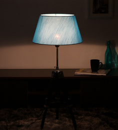 Cocovey Blue Silk Floor Tripod Lamp - 1579644