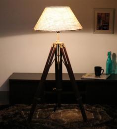 Cocovey Yellow Cotton Floor Tripod Lamp - 1579635