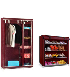 Combo Wardrobe Organizer with Four Layer Shoe Rack in Maroon Colour by Pindia