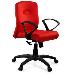 Comfy Medium Back Ergonomic Chair in Red Colour by Debono