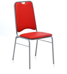 Contract 10 without Arm PVC Chair in Red Colour by Nilkamal