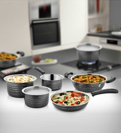 Cookaid Elite Heavy Black Stainless Steel Cookware Set 5 Pcs