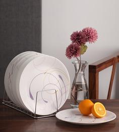 Corelle India Impressions Violet Dance Vitrelle Glass Plate - Set of 6