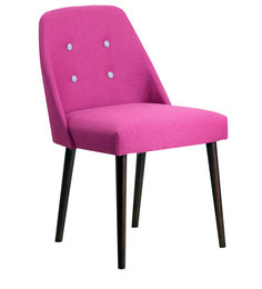 Corfinio Arm Chair (Set of 2) in Pink Colour & Cappucino Legs with Buttons by CasaCraft