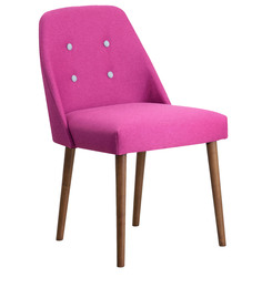 Corfinio Arm Chair (Set of 2) in Pink Colour & Cocoa Legs with Buttons by CasaCraft