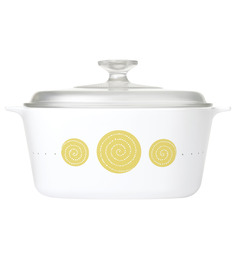 Corningware India Collection Spiral White and Yellow Pyroceram and Glass 2 L Casserole