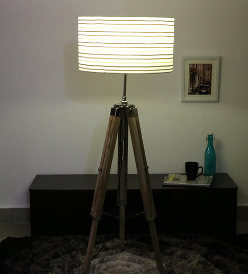 Cocovey Off White Cotton Floor Tripod Lamp