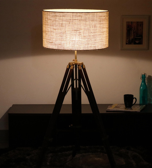 Cocovey Off White Jute Floor Tripod Lamp