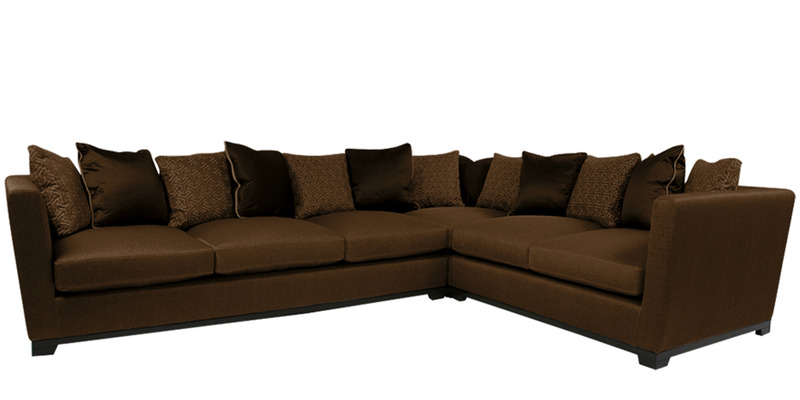 Contemporary low back two piece sectional sofa in brown for Sectional sofa low back
