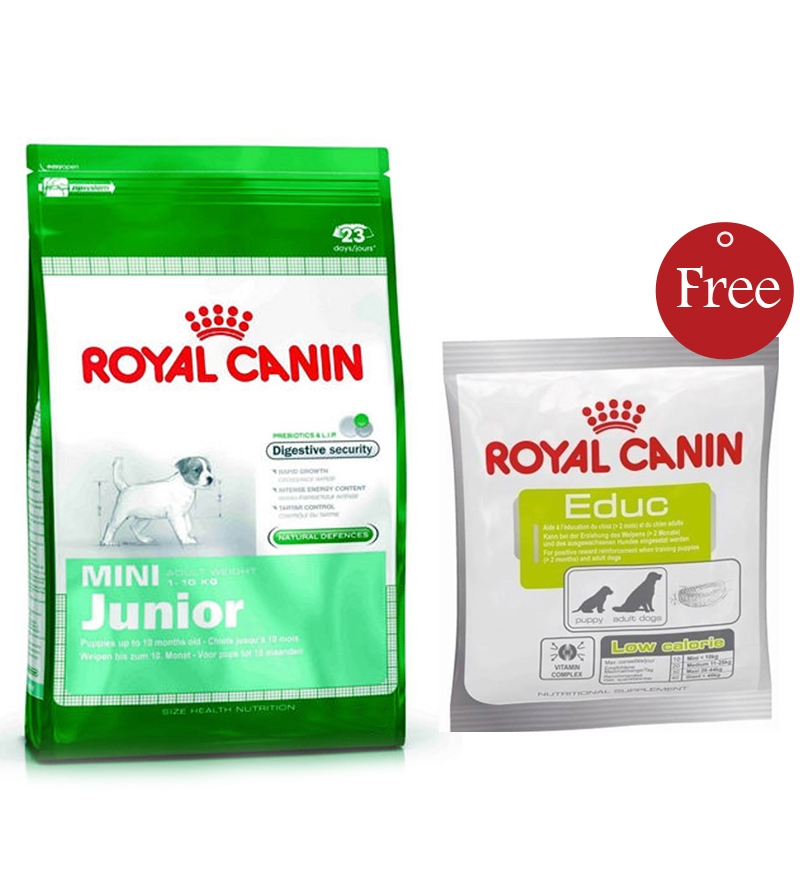 combo royal canin mini junior dog food 4kg free educ dog training reward 50g by royal canin. Black Bedroom Furniture Sets. Home Design Ideas