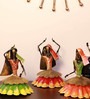 Cocovey Multicolour Metal Rajasthani Dancing Lady Figurine - Set of 3