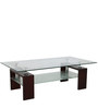 Coffee Table with Glass Top in Brown Colour by Penache Furnishings