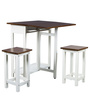 Compact Folding Dining Set with 2 Stools in Walnut & White Colour by HomeTown