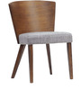 Dining Chair with a Curved Wooden Back in Grey Colour by Afydecor