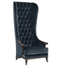 Contemporary High Back Wing Chair with Tufted Back & T seat in Black Colour by Afydecor
