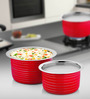 Cookaid Elite Red Stainless Steel Patila - Set of 2