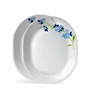 Corelle India Collection Blue Blossom White and Blue Vitrelle Glass Oval Serving Platter Set
