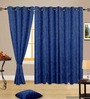 Cortina Embossed Blue Polyester Solid Window Curtain- Set of 2