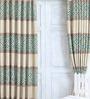 Cortina Blue Jacquard Premium Mosaic Door Curtain- Set of 2