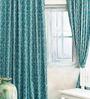 Cortina Blue Jacquard Abstract Door Curtain- Set of 2