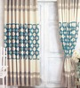 Cortina Blue Jacquard Premium Geometric Door Curtain- Set of 2