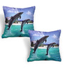 Cortina Blue Polyester 16 x 16 Inch Velvet Abstract Cushion Covers - Set of 2