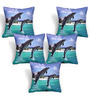 Cortina Blue Polyester 16 x 16 Inch Velvet Abstract Cushion Covers - Set of 5