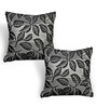 Cortina Brown & Black Polyester 16 x 16 Inch Velvet Ethnic Cushion Covers - Set of 2