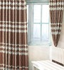 Cortina Brown Jacquard Premium Wave Door Curtain- Set of 2