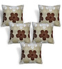 Cortina Brown Polyester 16 x 16 Inch Velvet Floral Cushion Covers - Set of 5
