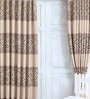 Cortina Brown Jacquard Premium Mosaic Door Curtain- Set of 2