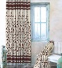 Cortina Brown Jacquard Premium Door Curtain- Set of 2
