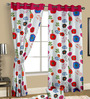 Cortina Multicolour Satin Nature & Florals Door Curtain - Set of 2
