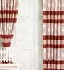 Cortina Brown Jacquard Premium Mixed Pattern Door Curtain- Set of 2