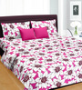 Cortina Pink & White Cotton Floral 100 x 90 Inch Bed Sheet (with Pillow Covers)