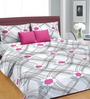 Cortina Grey & Pink Cotton Floral Double Bed Sheet Set (with Pillow Covers)