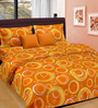 Cortina Orange Cotton Circular 100 x 90 Inch Bed Sheet (with Pillow Covers)