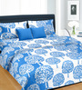 Cortina Blue Cotton Leaf 100 x 90 Inch Bed Sheet (with Pillow Covers)
