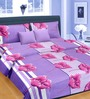 Cortina Premium Stripes Purple 100% Cotton Double Bed Sheet (with Pillow Covers) -