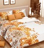 Cortina Premium Paeonia Brown Satin Double Bed Sheet (with Pillow Covers) -