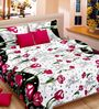 Cortina Premium Tulips Red Satin Double Bed Sheet (with Pillow Covers) -
