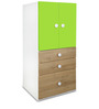 Country Small Cabinet in Oak & Green Colour by Alex Daisy