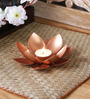 Courtyard Copper Iron Lotus Single Table Tea Light Holder