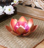 Courtyard Copper Iron Single Tea Light Holder with Orange Glass