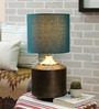 Courtyard Darbar Antique Brass Table Lamp with Teal Shade