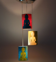 Craftter Set Of 3 Lord Buddha Dark Multicolor Hanging Lamp
