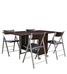 Creso Foldable Four Seater Dinning Set in Brown Colour by Gravity