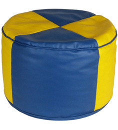 Criss Cross Bean Round Pouffe in Yellow Blue color by SIWA STYLE